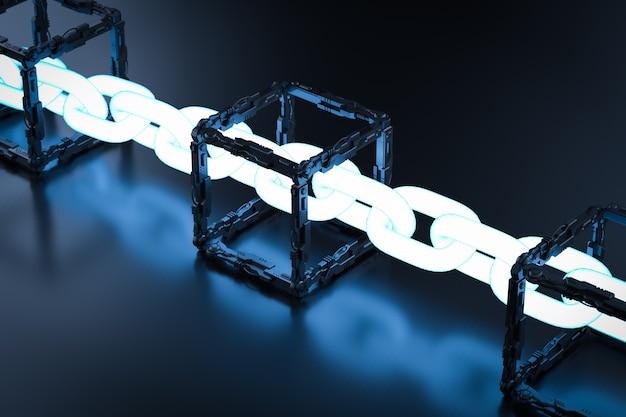 Blockchain-technologiekonzept mit 3d-rendering-blöcken verbinden sich mit glänzender kette