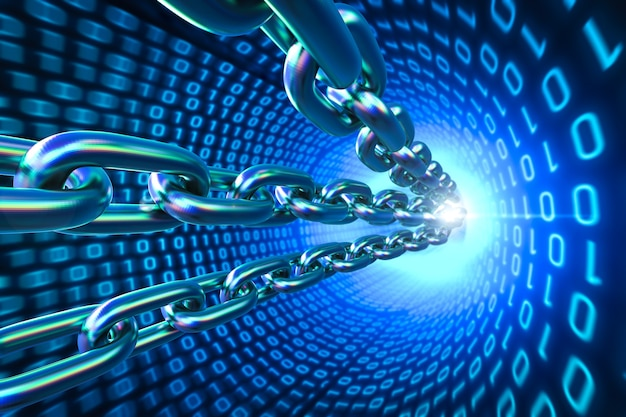 Blockchain-technologiekonzept mit 3d-rendering-ketten verbinden sich mit binärcode-hintergrund