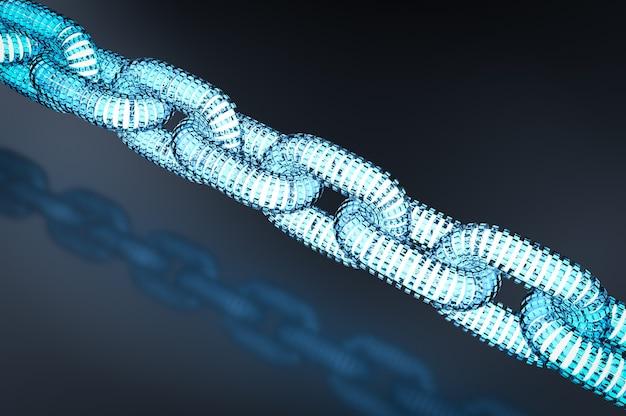 Blockchain-technologiekonzept mit 3d-rendering-verbindung mit blauen ketten