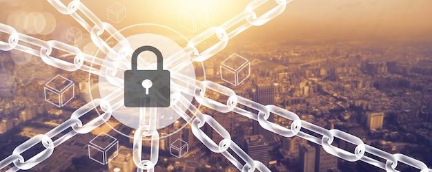 Blockchain-verbindungsleitungstechnologie und cybersicherheitskonzept, fintech-netzwerk und social digital modern in neuer normalität