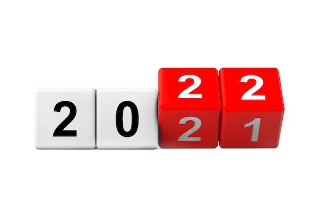 Blöcke mit dem übergang vom jahr 2021 bis 2022 auf weißem hintergrund. 3d-rendering