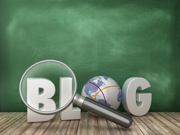 Blog 3d-wort mit lupe auf tafelhintergrund