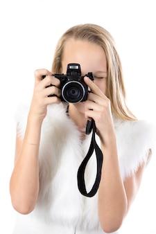 Blonde student ihre vintage-kamera