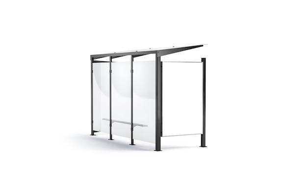 Blsnk weißer leuchtkasten auf bushaltestelle mock-up seitenansicht leerer vertikaler pylon bildschirm mockup isoliert