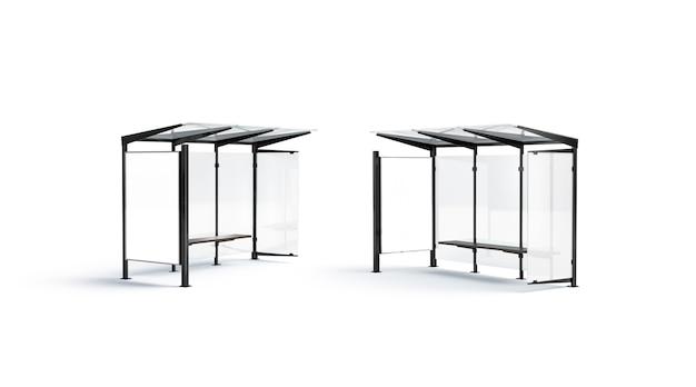 Blsnk weißes affiche auf der bushaltestelle mock-up seitenansicht leere vertikale beschilderung auf dem glasstationsmodell