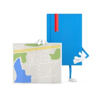 Blue book character maskottchen mit abstrakter plan-karte auf weißem hintergrund. 3d-rendering