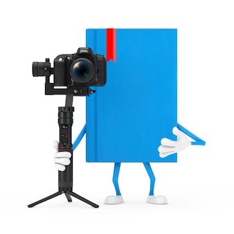 Blue book character maskottchen mit dslr oder videokamera gimbal stabilisierung stativsystem auf weißem hintergrund. 3d-rendering