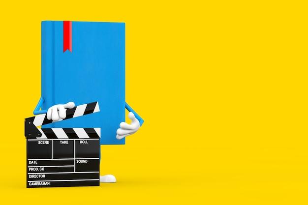 Blue book character maskottchen mit film clapper board auf gelbem grund. 3d-rendering
