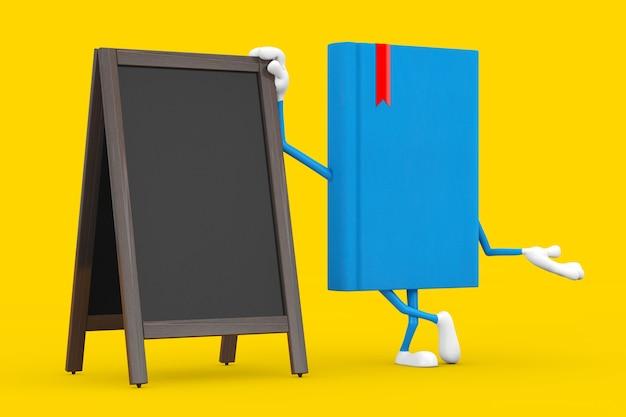 Blue book character maskottchen mit leeren hölzernen menütafeln outdoor-display auf gelbem hintergrund. 3d-rendering