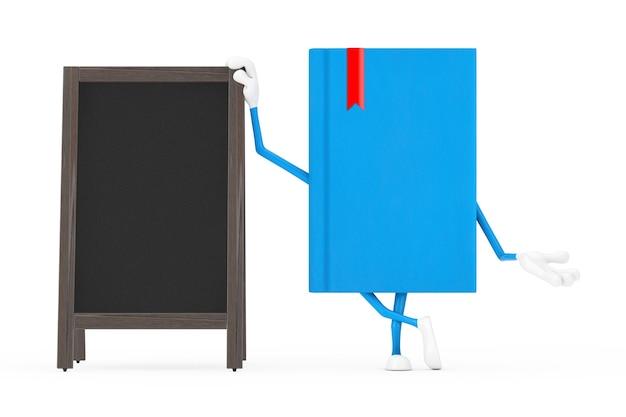 Blue book character maskottchen mit leeren hölzernen menütafeln outdoor-display auf weißem hintergrund. 3d-rendering
