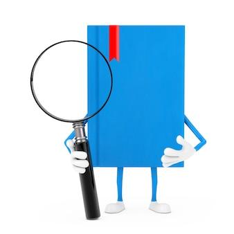 Blue book character maskottchen mit lupe auf weißem hintergrund. 3d-rendering