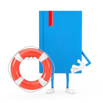 Blue book character maskottchen mit rettungsring auf weißem hintergrund. 3d-rendering