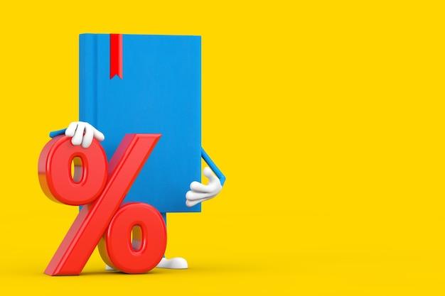 Blue book character maskottchen mit rotem einzelhandelsprozentsatz oder rabattzeichen auf gelbem hintergrund. 3d-rendering