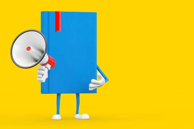Blue book character maskottchen mit rotem retro-megaphon auf gelbem grund. 3d-rendering