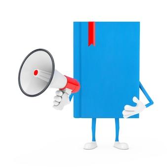 Blue book character maskottchen mit rotem retro-megaphon auf weißem hintergrund. 3d-rendering