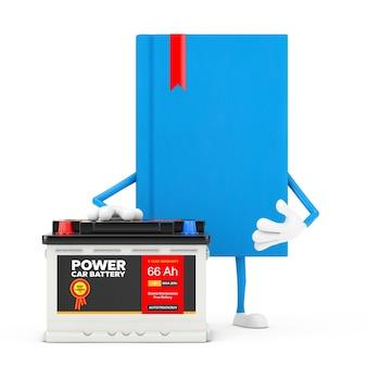 Blue book character maskottchen und akku 12v autobatterie mit abstraktem etikett auf weißem hintergrund. 3d-rendering