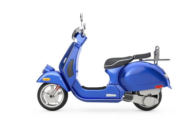 Blue classic vintage retro oder elektroroller auf weißem hintergrund 3d-rendering