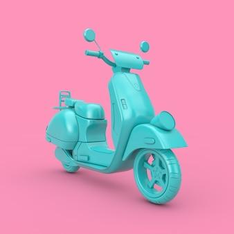 Blue classic vintage retro oder elektroroller duotone auf rosa hintergrund 3d-rendering