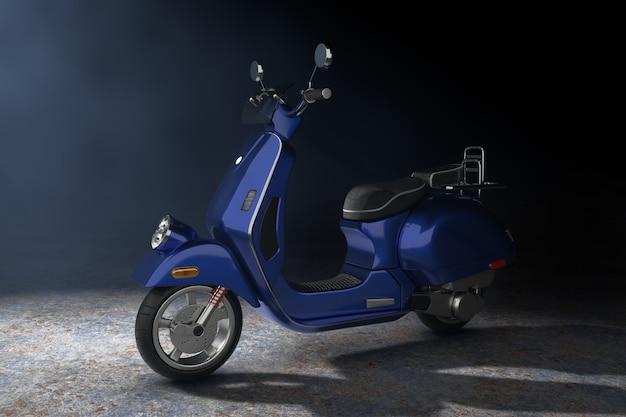 Blue classic vintage retro oder elektroroller im volumetrischen licht auf schwarzem hintergrund 3d-rendering