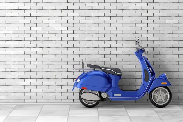Blue classic vintage retro oder elektroroller vor backsteinmauer. 3d-rendering