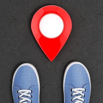 Blue denim sneakers auf der asphaltstraße mit map pointer top view extreme nahaufnahme. 3d-rendering