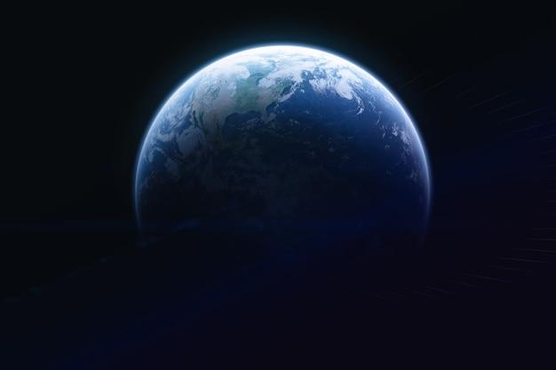 Blue earth planet auf schwarzem hintergrund erdkugel elemente dieses von der nasa bereitgestellten bildes