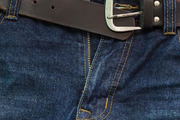 Blue jeans-schritt mit reißverschluss