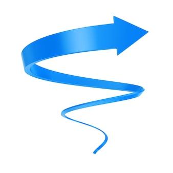 Blue spiral arrow twist bis zum erfolg auf weißem hintergrund. 3d-rendering