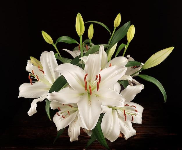 Blühende weiße lilieblütenknospen in der vase auf dunklem hintergrund. nahaufnahme, makro