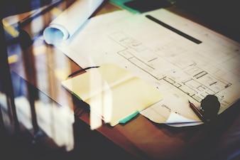 Blueprint-Design-Ideen-Kreativitäts-dekoratives Bau-Konzept