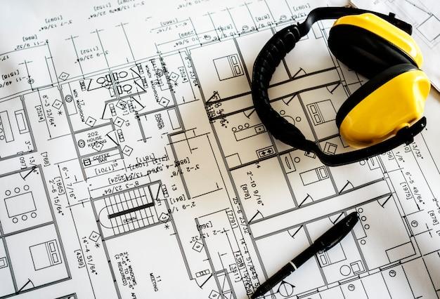 Blueprint und ohrenschützer