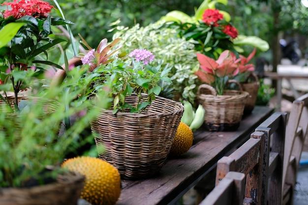 Blume & grüne pflanzenblätter im weidenkorb, der auf terrassenbalkon verziert