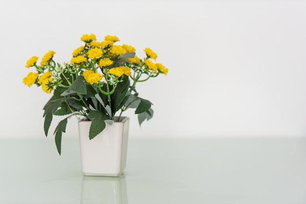 Blume im weißen vase auf dem tisch gesetzt.