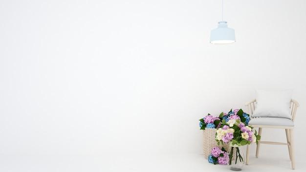 Blume und stuhl im weißen raum