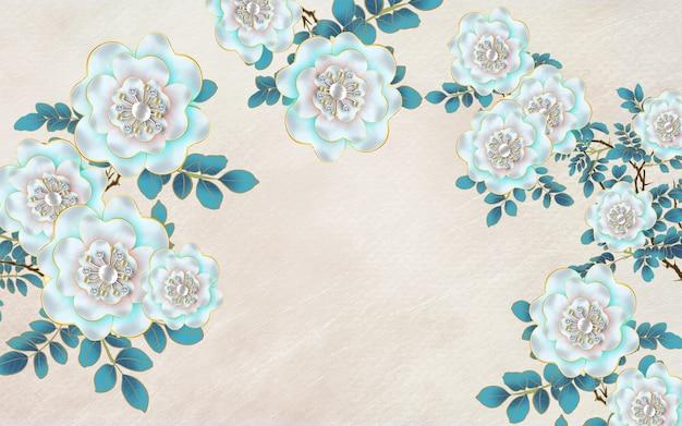 Blumen abstrakte tapetenkunst für dekoratives zuhause. 3d-türkis verlässt blumen in hellem hintergrund