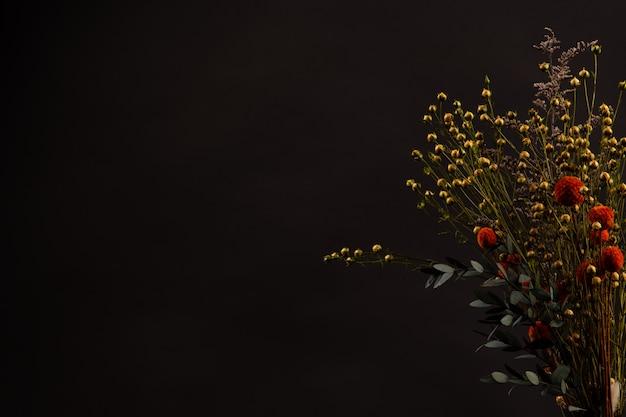 Blumen auf schwarzem hintergrund