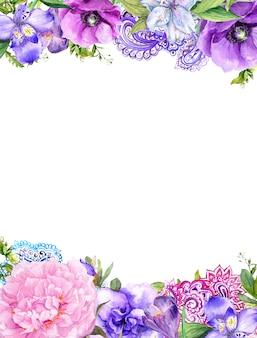 Blumen, ethnische verzierung. blumenkarte im boho-stil. aquarell