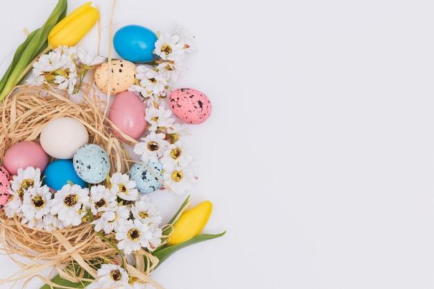 Blumen in der nähe von eiern und nest