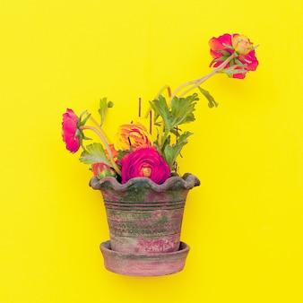 Blumen in einem topf auf gelbem grund. jahrgang. flache lay-kunst