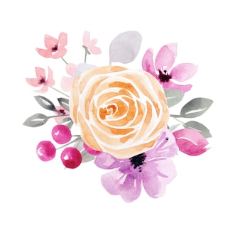 Blumen und blätter, aquarell. aquarellillustrationen