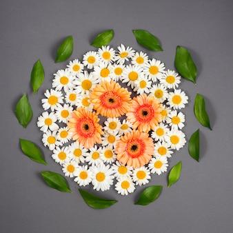Blumen und blätter im kreis organisiert