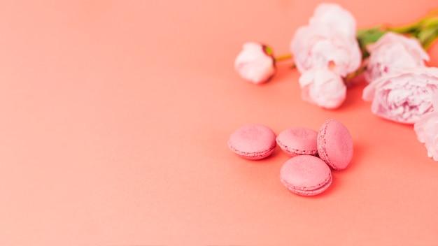 Blumen und macarons