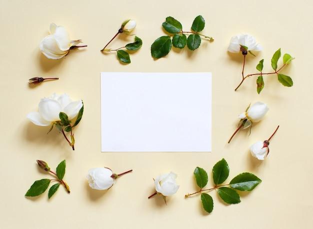 Blumen und weißes papteron eine hellgelbe hintergrundoberansicht
