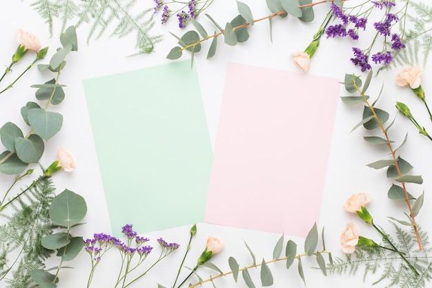 Blumen zusammensetzung. papierrohling, nelkenblumen, eukalyptuszweige auf pastellhintergrund. flache lage, draufsicht.