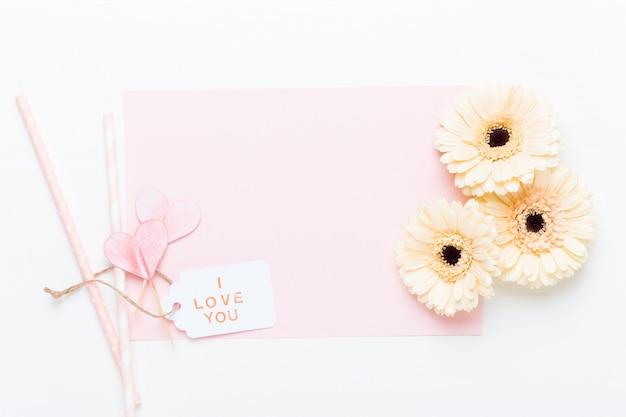 Blumen zusammensetzung. rahmen aus pastellgerbera auf weiß.