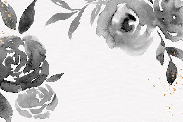 Blumenaquarellillustration des schwarzen rosenrahmenhintergrundes
