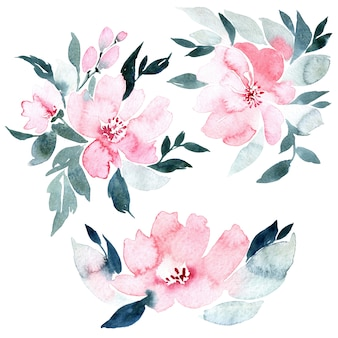 Blumenaquarellillustration, lokalisiert auf weiß