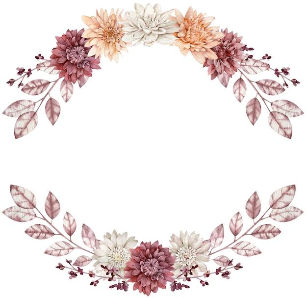 Blumenfallrahmen verzieren mit blättern. aquarell aster und dahlienkranz. herbstschablone lokalisiert auf dem weißen hintergrund.