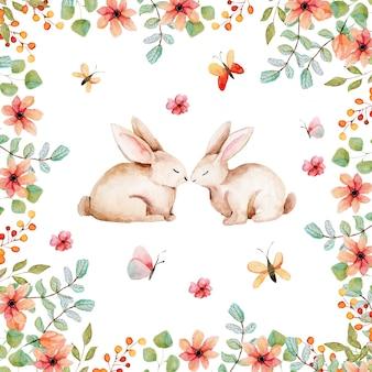 Blumenkarte. frühlings-osterblumenillustrationskreisrahmen. hochzeitstorte dessert. sommergarten blüht rosa rosensammlung