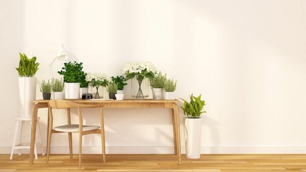 Blumenladen und caféinnengarten - wiedergabe 3d
